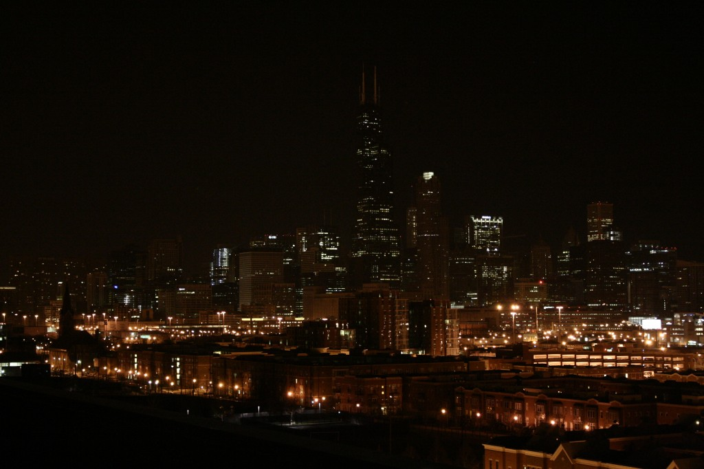 chicago skyline, night